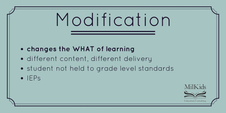 Guest Post via @MilKidsEdConsult: Modifications and Accommodations